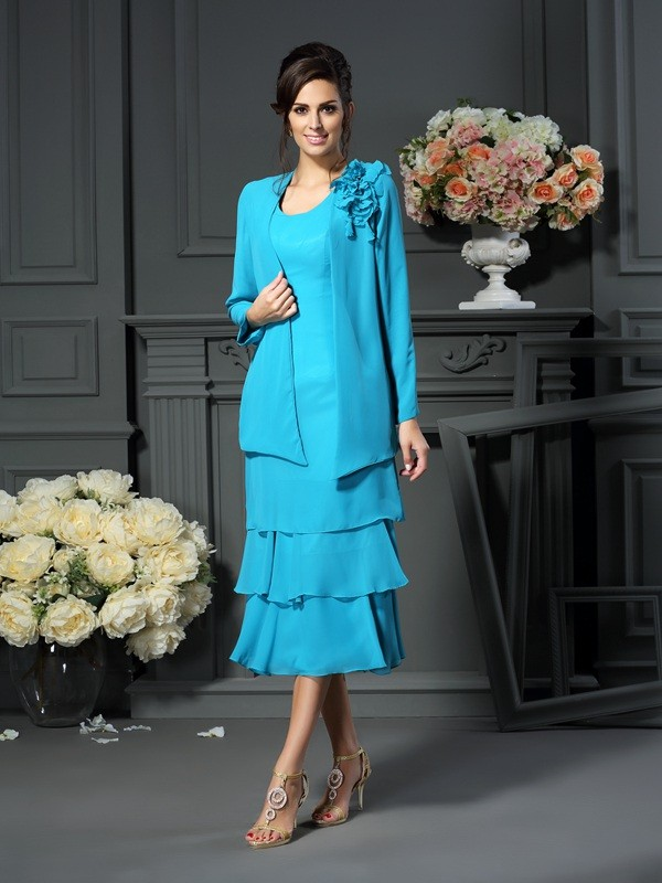 A-Line/Princess Scoop Sleeveless Short Chiffon Mother of the Bride Dresses