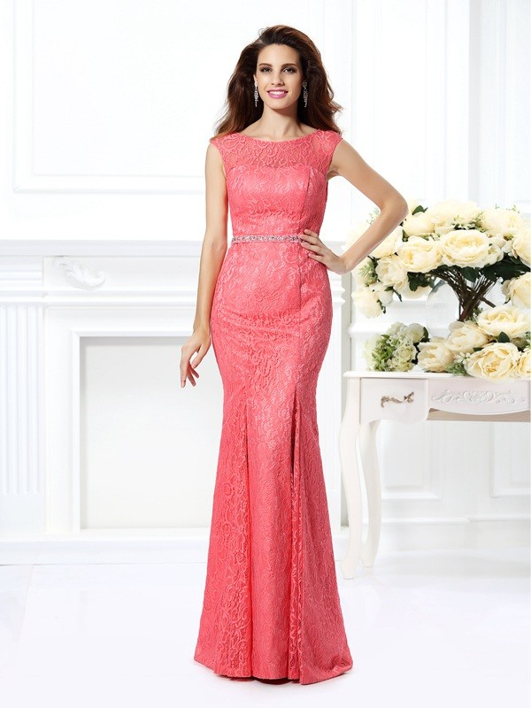 Trumpet/Mermaid Bateau Beading Sleeveless Long Lace Dresses