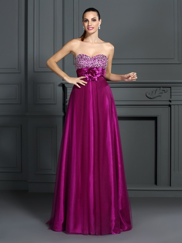A-Line/Princess Sweetheart Hand-Made Flower Sleeveless Long Elastic Woven Satin Dresses