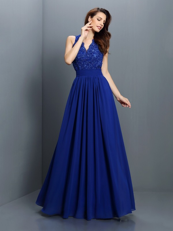 A-Line/Princess V-neck Applique Sleeveless Long Chiffon Bridesmaid Dresses