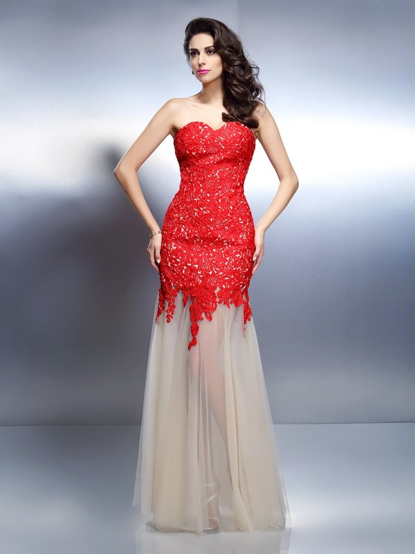 A-Line/Princess Sweetheart Applique Sleeveless Long Net Dresses