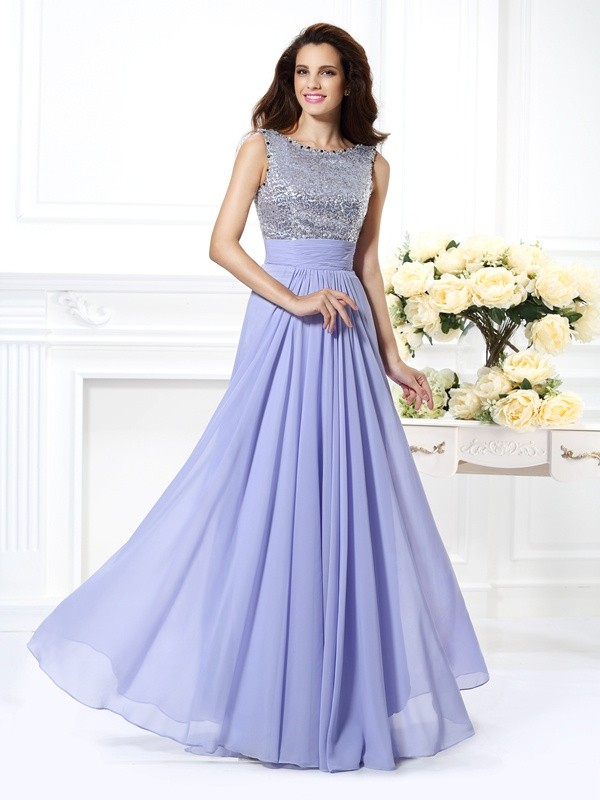 A-Line/Princess Bateau Lace Sleeveless Paillette Long Chiffon Dresses