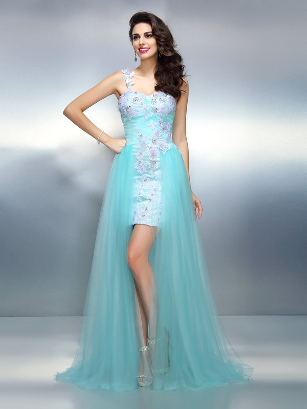 Sheath/Column One-Shoulder Applique Sleeveless Long Elastic Woven Satin Dresses