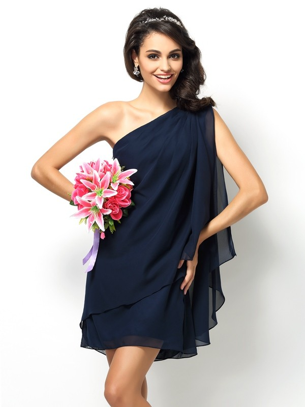 A-Line/Princess One-Shoulder Sleeveless Short Chiffon Bridesmaid Dresses