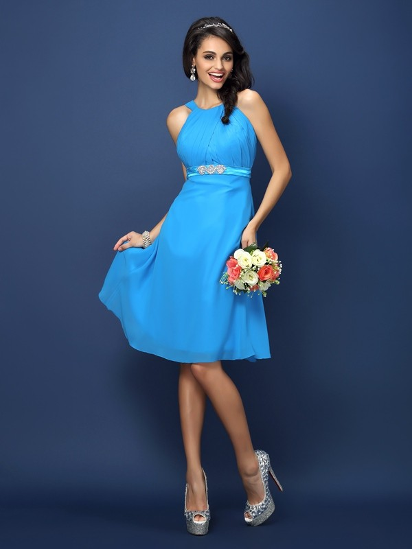 A-Line/Princess Bateau Sash/Ribbon/Belt Sleeveless Short Chiffon Bridesmaid Dresses