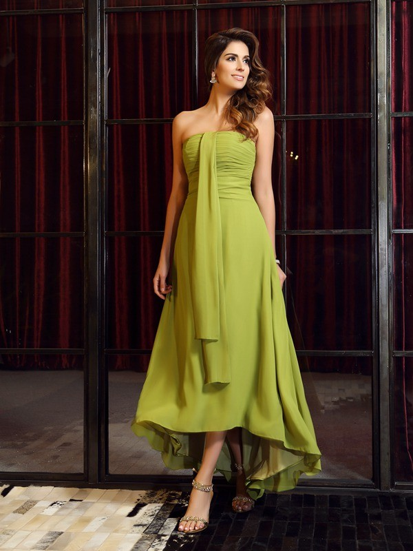 A-Line/Princess Strapless Sleeveless High Low Chiffon Bridesmaid Dresses