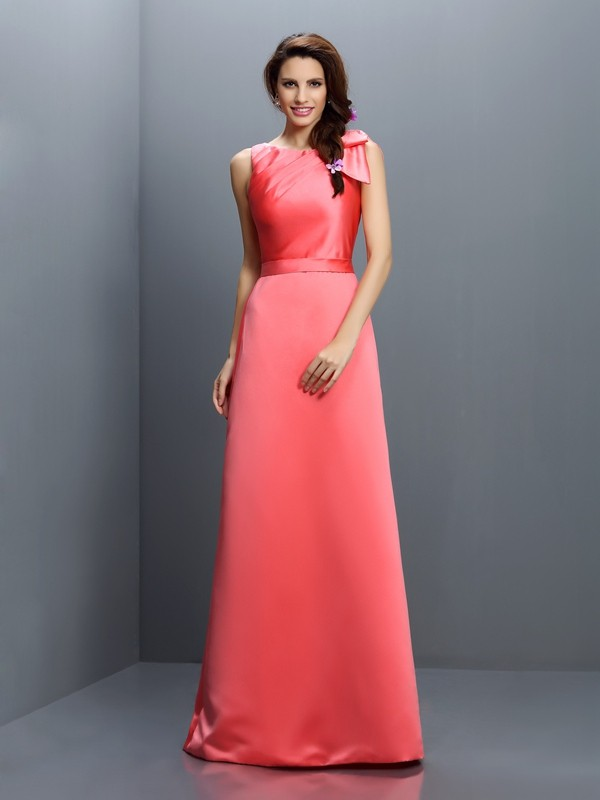 Sheath/Column Bateau Sleeveless Long Satin Bridesmaid Dresses