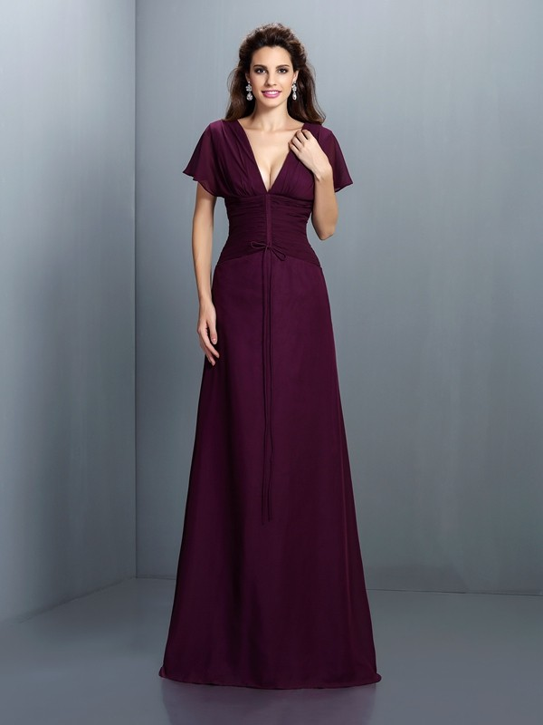 A-Line/Princess V-neck Ruched Short Sleeves Long Chiffon Dresses