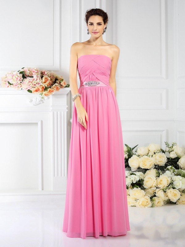 A-Line/Princess Strapless Pleats Sleeveless Long Chiffon Bridesmaid Dresses