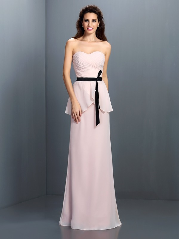 Sheath/Column Sweetheart Sash/Ribbon/Belt Sleeveless Long Chiffon Bridesmaid Dresses