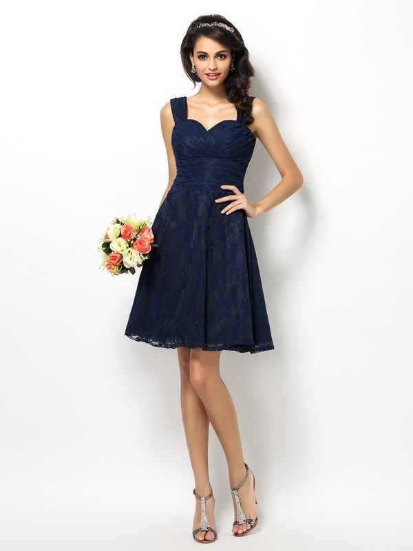 A-Line/Princess Straps Lace Sleeveless Short Satin Bridesmaid Dresses
