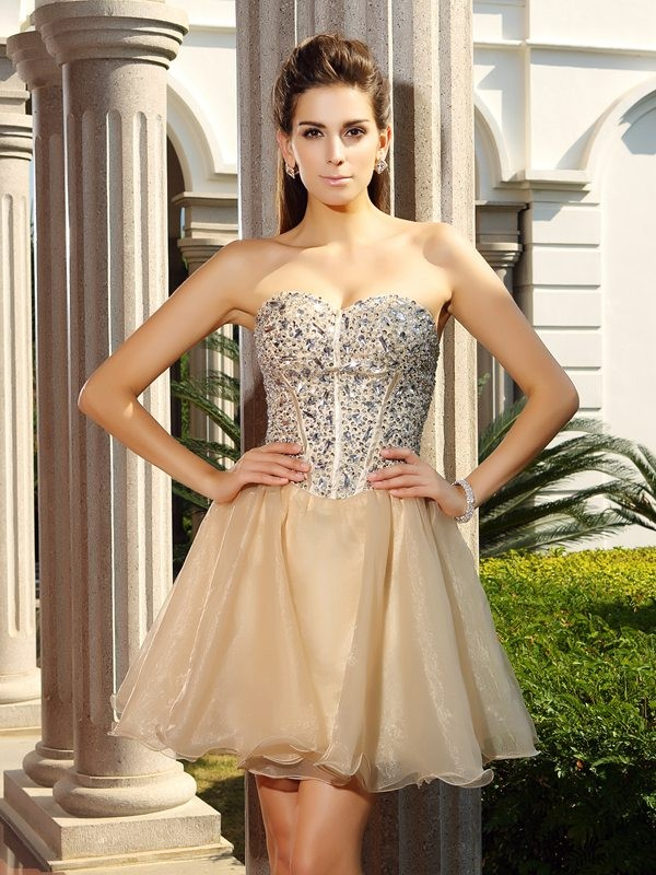 A-Line/Princess Sweetheart Ruffles Sleeveless Short Organza Cocktail Dresses