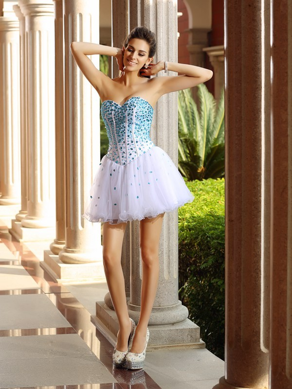 A-Line/Princess Sweetheart Ruffles Sleeveless Short Tulle Cocktail Dresses