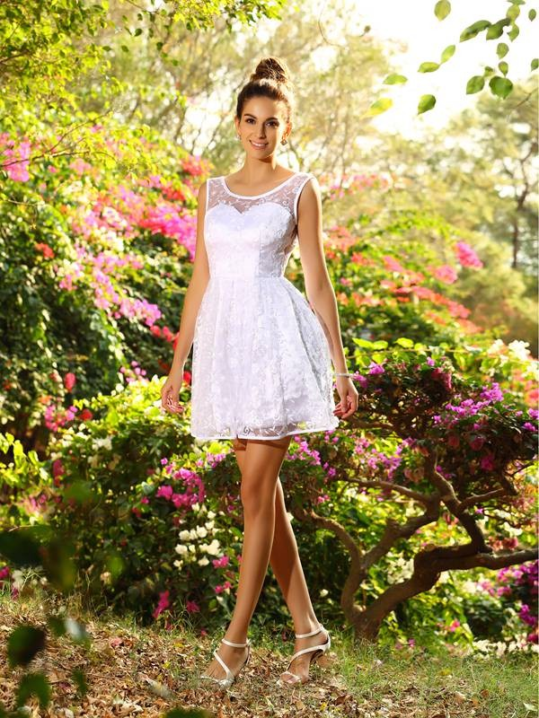 A-Line/Princess Bateau Sleeveless Short Lace Bridesmaid Dresses