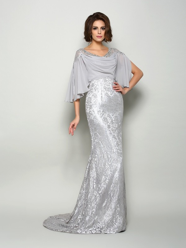 Trumpet/Mermaid Scoop Lace 1/2 Sleeves Long Chiffon Mother of the Bride Dresses