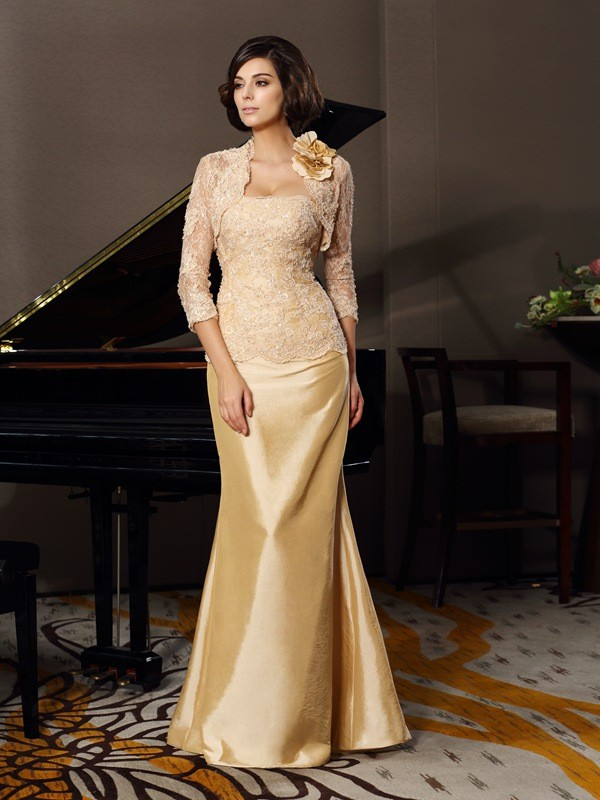 Trumpet/Mermaid Sweetheart Lace Sleeveless Long Taffeta Mother of the Bride Dresses