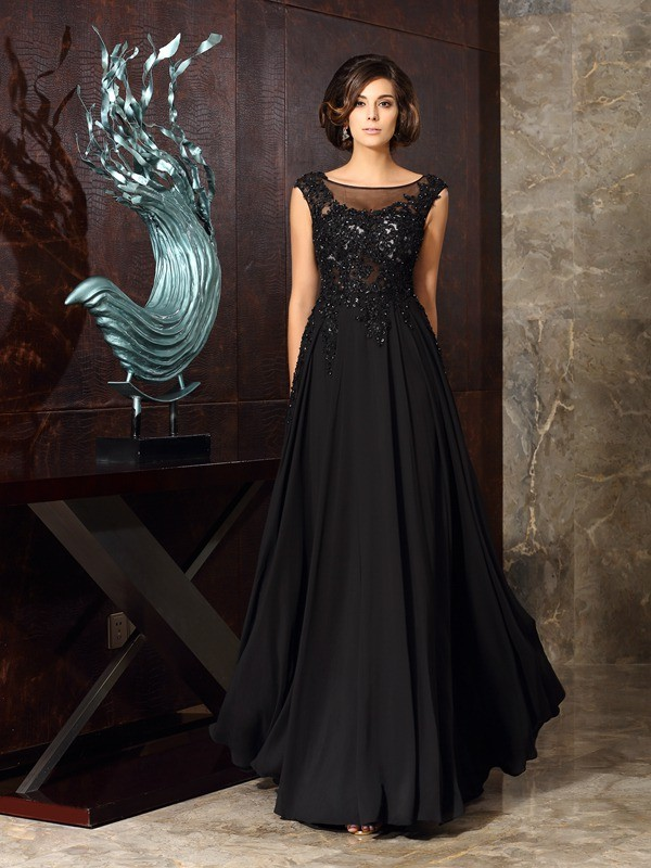 A-Line/Princess Scoop Applique Sleeveless Long Chiffon Mother of the Bride Dresses