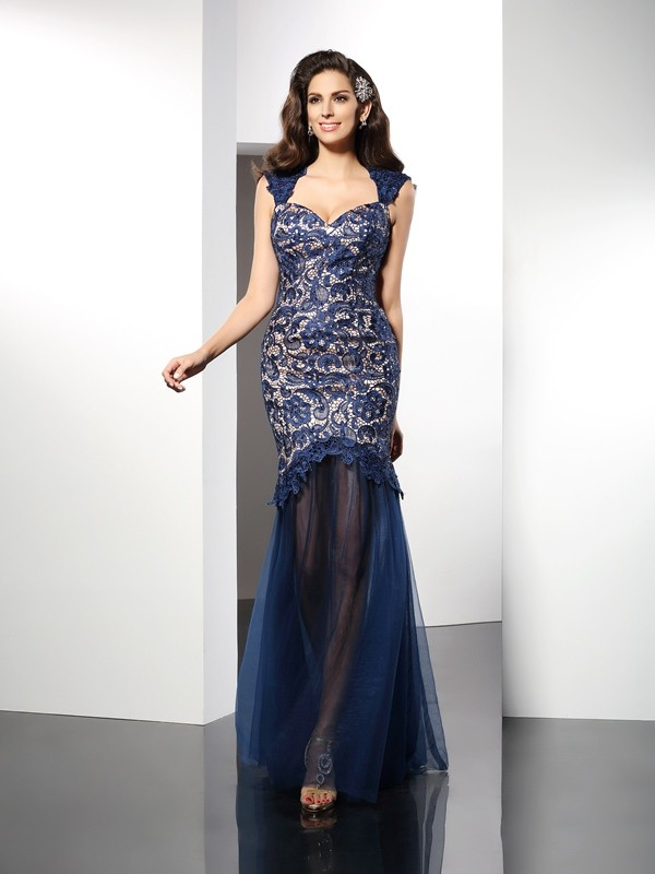 Trumpet/Mermaid Sweetheart Lace Sleeveless Long Net Dresses