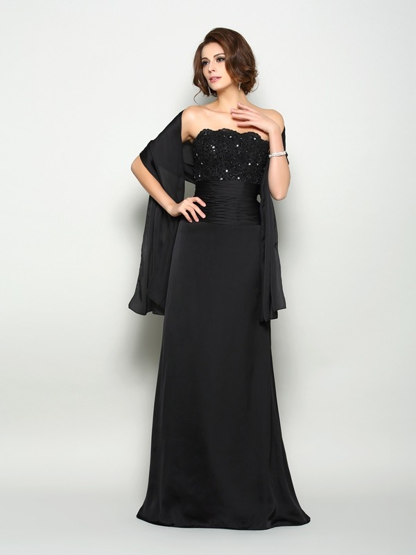 A-Line/Princess Strapless Beading Sleeveless Long Chiffon Mother of the Bride Dresses