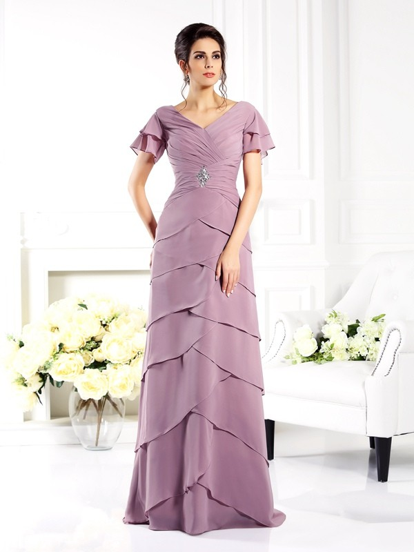 Sheath/Column V-neck Short Sleeves Long Chiffon Mother of the Bride Dresses