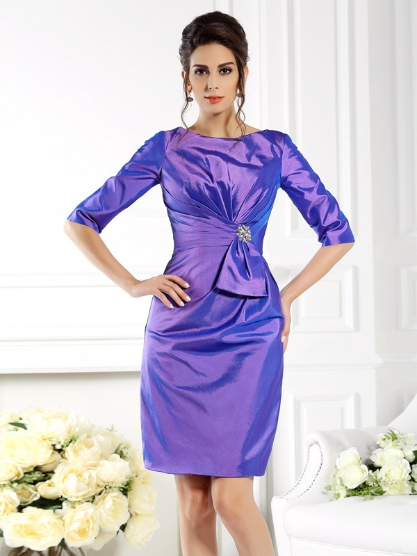 Sheath/Column Bateau 1/2 Sleeves Short Taffeta Mother of the Bride Dresses