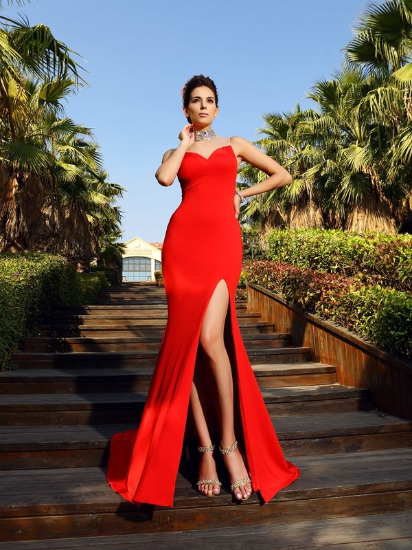 Sheath/Column High Neck Beading Sleeveless Long Spandex Dresses