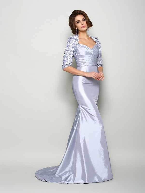 Trumpet/Mermaid Sweetheart Applique 1/2 Sleeves Long Taffeta Mother of the Bride Dresses