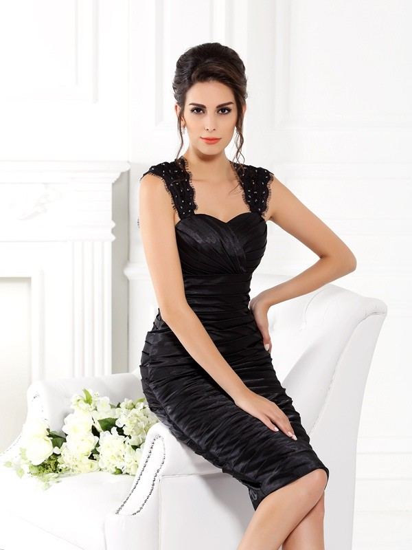 Sheath/Column Straps Sleeveless Short Taffeta Mother of the Bride Dresses