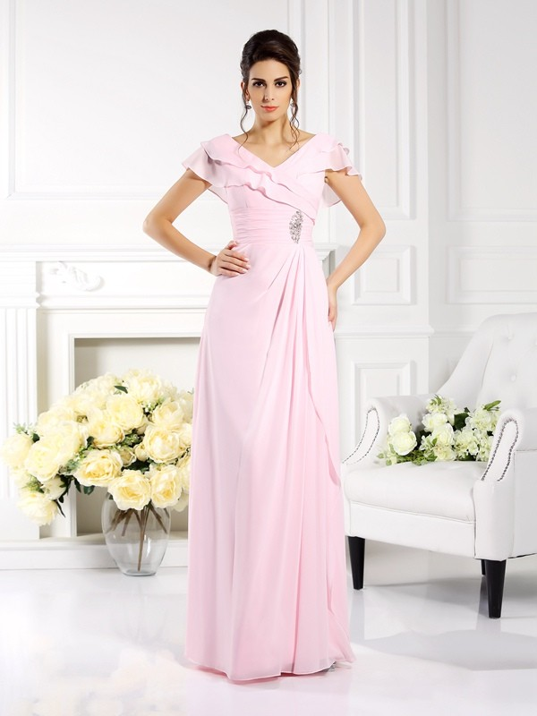 A-Line/Princess V-neck Ruffles Short Sleeves Long Chiffon Mother of the Bride Dresses