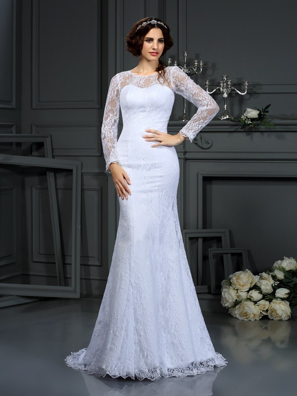 Sheath/Column Scoop Lace Long Sleeves Long Satin Wedding Dresses