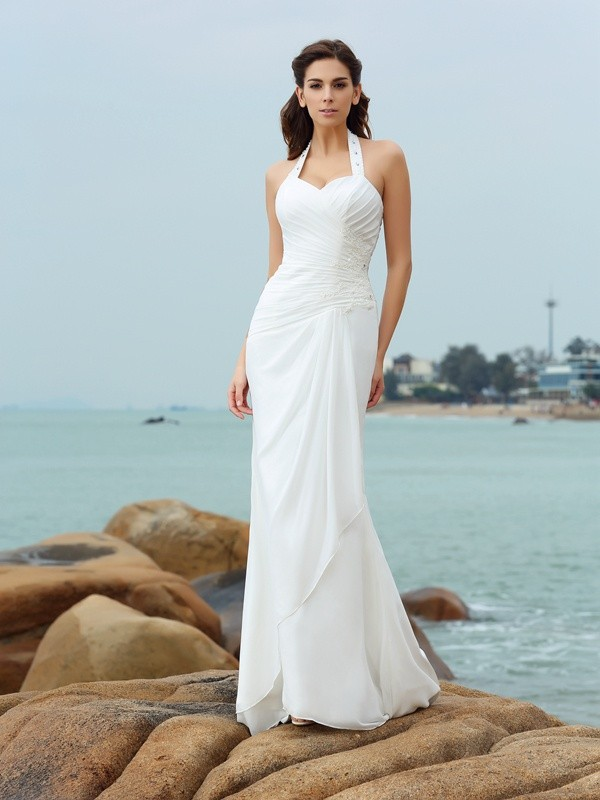 Sheath/Column Halter Pleats Sleeveless Long Chiffon Beach Wedding Dresses