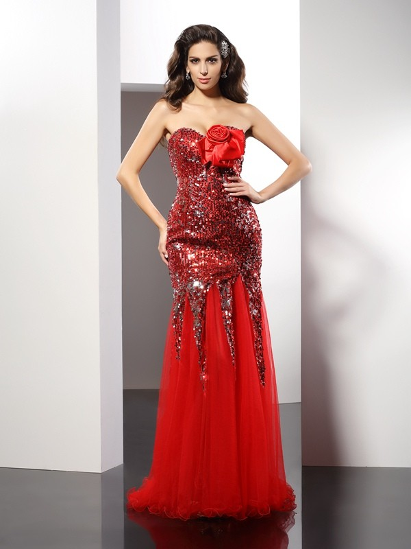 Sheath/Column Sweetheart Sequin Sleeveless Long Elastic Woven Satin Dresses