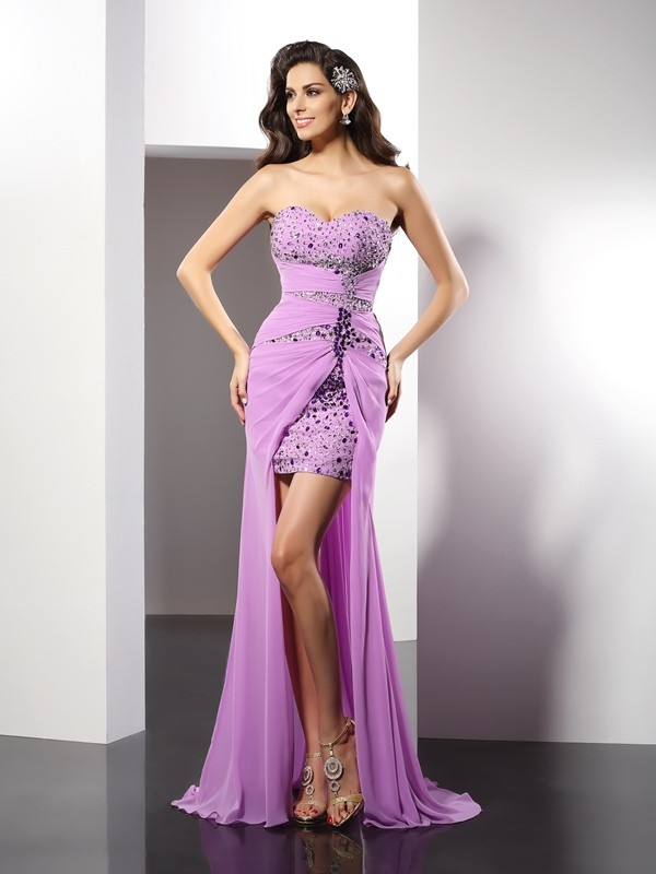 Sheath/Column Sweetheart Beading Sleeveless Long Silk like Satin Dresses