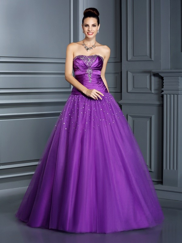 Ball Gown Strapless Sleeveless Long Taffeta Quinceanera Dresses