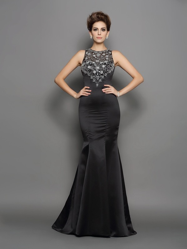 Trumpet/Mermaid Scoop Beading Sleeveless Long Satin Dresses