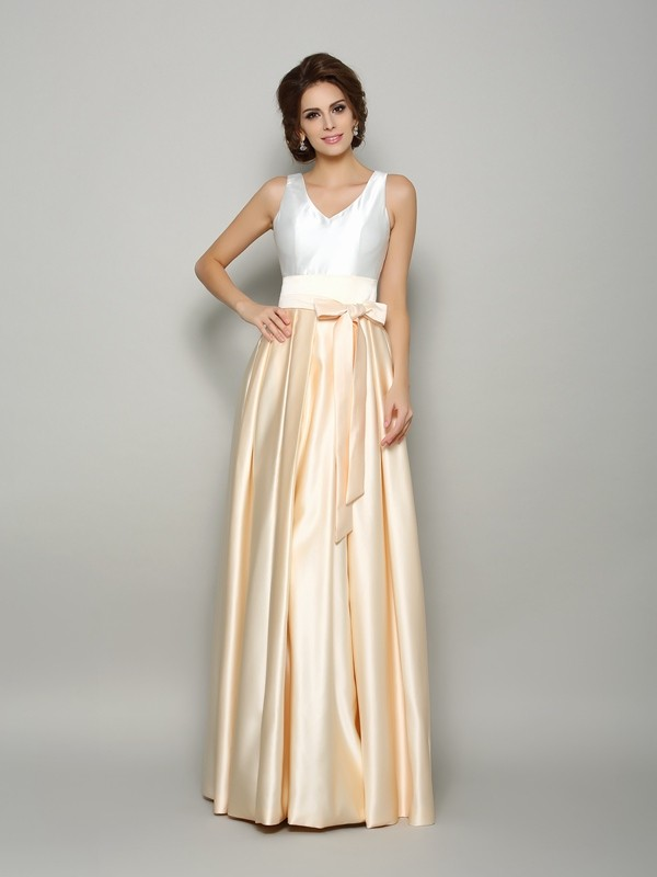A-Line/Princess V-neck Bowknot Sleeveless Long Satin Mother of the Bride Dresses