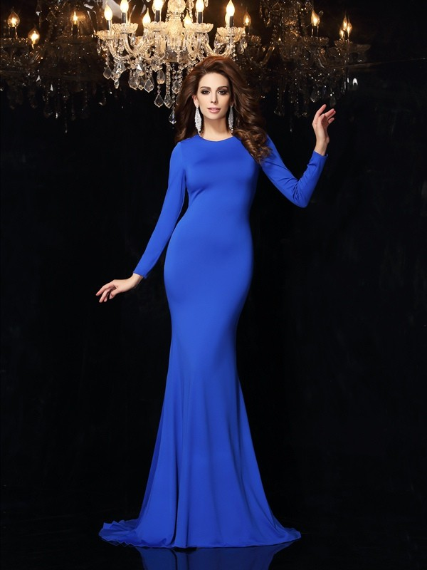 Trumpet/Mermaid Scoop Long Sleeves Long Spandex Dresses