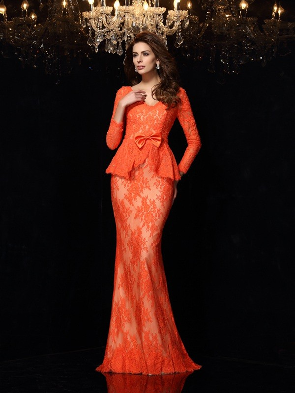 Sheath/Column V-neck Bowknot Long Sleeves Long Lace Dresses
