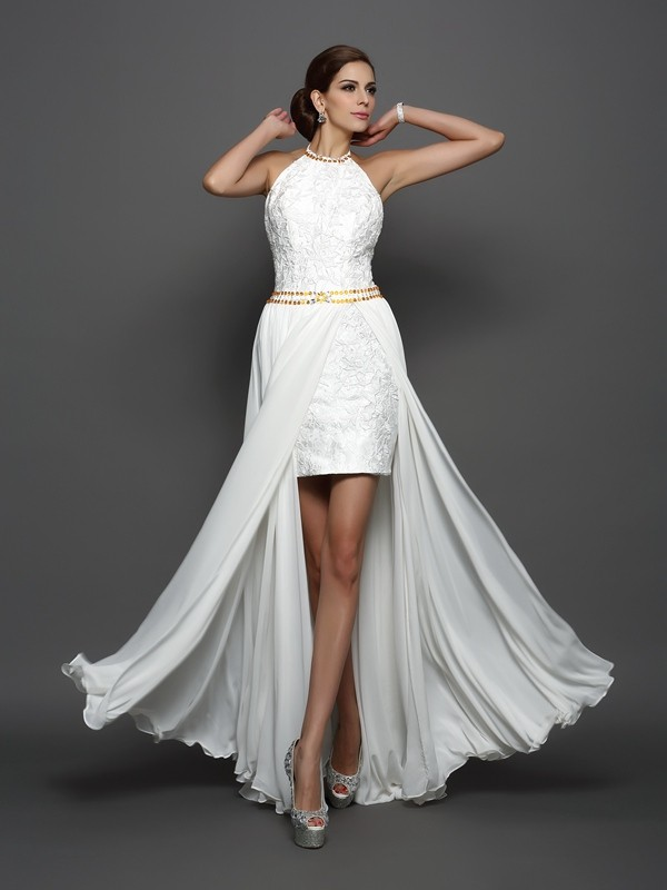 A-Line/Princess High Neck Lace Sleeveless Long Chiffon Wedding Dresses