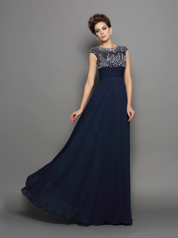 A-Line/Princess Scoop Beading Short Sleeves Long Chiffon Dresses