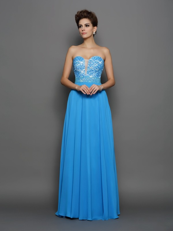 A-Line/Princess Sweetheart Applique Sleeveless Long Chiffon Dresses