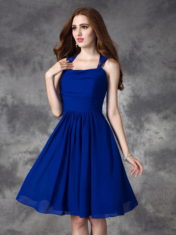 A-line/Princess Straps Ruffles Sleeveless Short Chiffon Bridesmaid Dresses