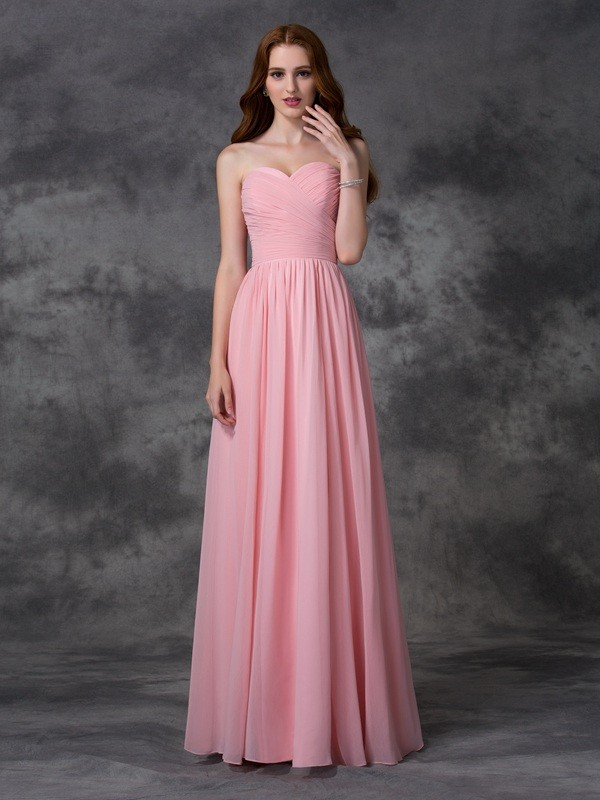 A-line/Princess Sleeveless Sweetheart Ruffles Long Chiffon Bridesmaid Dresses