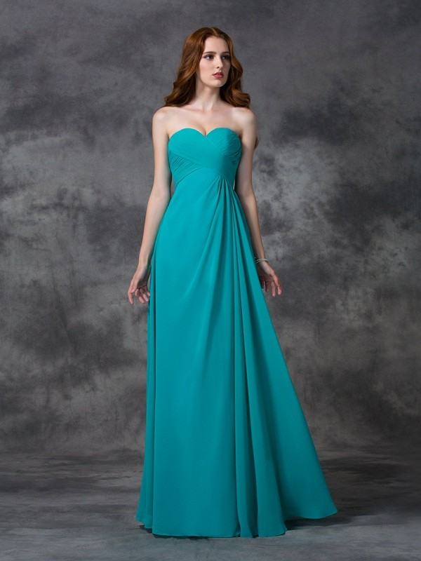 A-line/Princess Sweetheart Sleeveless Long Ruffles Chiffon Bridesmaid Dresses