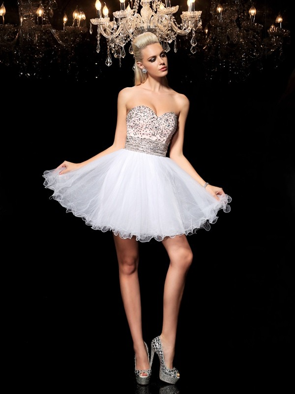 A-Line/Princess Sweetheart Beading Sleeveless Short Net Cocktail Dresses