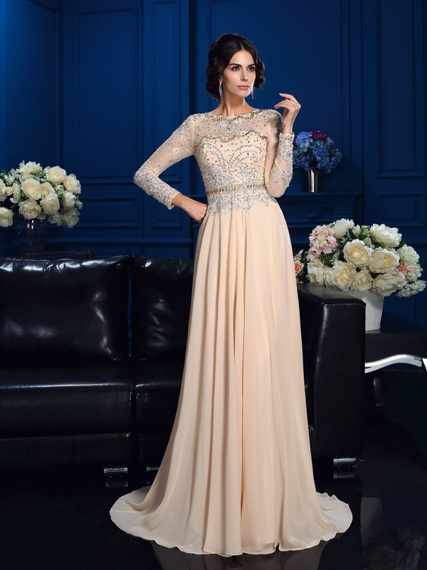 058ca4740eed A-Line/Princess Scoop Beading Long Sleeves Long Chiffon Mother of the Bride  Dresses ...