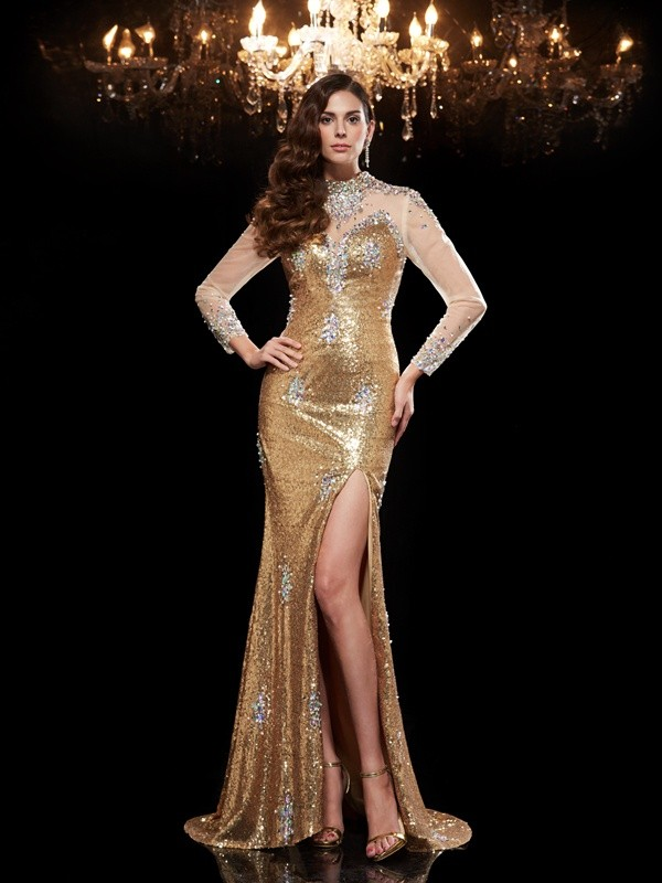 Trumpet/Mermaid High Neck Beading 3/4 Sleeves Long Sequins Dresses