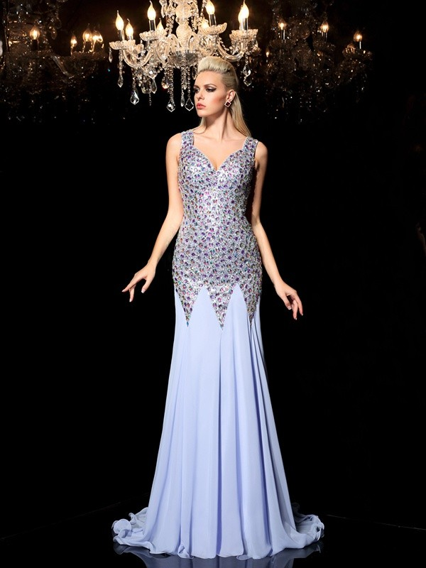 Sheath/Column Straps Rhinestone Sleeveless Long Chiffon Dresses