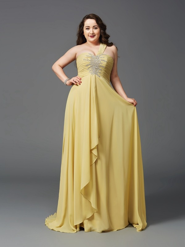A-Line/Princess One-Shoulder Rhinestone Sleeveless Long Chiffon Plus Size Dresses