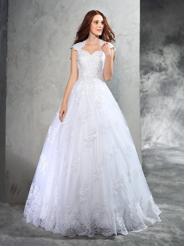 Ball Gown Sweetheart Lace Sleeveless Long Organza Wedding Dresses